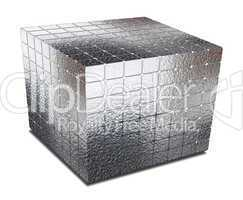 cube with gaps silver metal