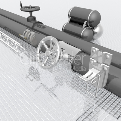 metallic tubes with hand crank valve