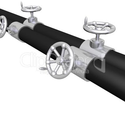 bright metal tubes with crank valve