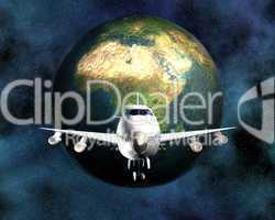 airliner with a globe in the background