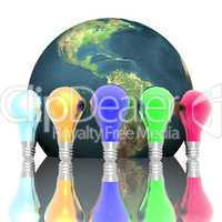 Red, blue and green lightbulbs isolated on a white