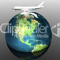 airliner with earth in the background