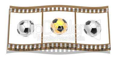 film with 3d Soccer balls