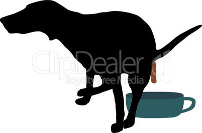 Hund beim Lösen über Hundeklo