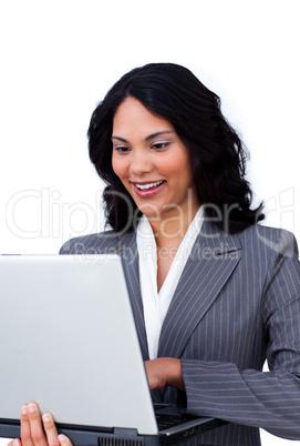 Ethnic businesswoman surfing the internet