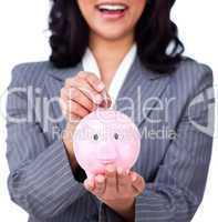 Focus on a piggybank