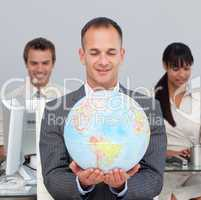 Assertive manager smiling at global expansion
