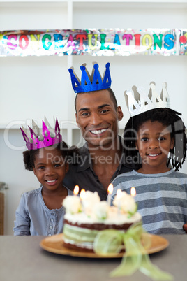father with his children celebrating