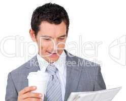 Businessman reading a newspaper