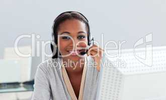 Afro-american customer service representative with headset on