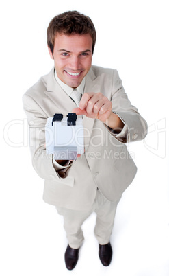 Confident businessman searching for the index