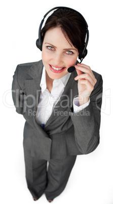 Self-assured businesswoman talking on a headset