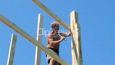 Construction Worker Hammering