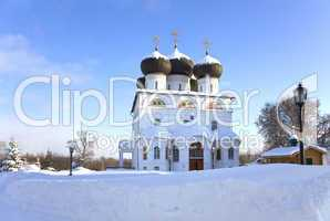 Christian monastery in winter sunny day