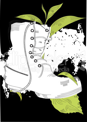 Grunge background with boot and grass