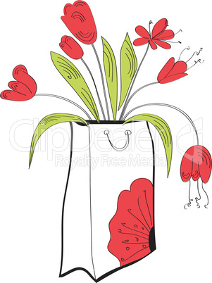 Shopping bag with tulips flowers
