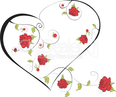 Heart with decorative roses flowers
