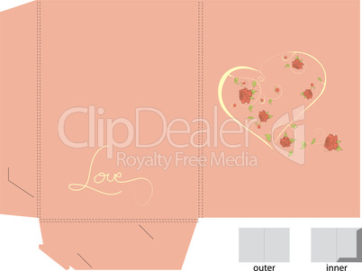 Template for gift folder on pink background