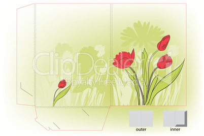 Gift folder with tulips flowers