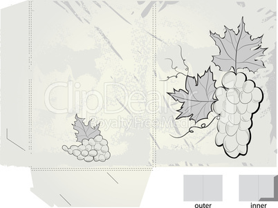 Retro stylized gift folder with grapes