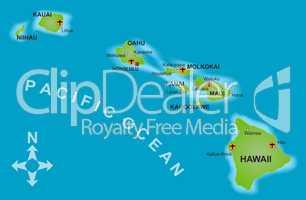 Karte Hawaii