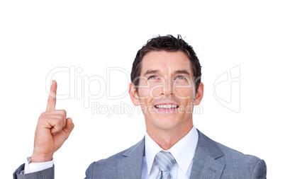 Positive businessman pointing upward