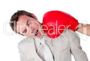 Close-up of a businessman being hit with a boxing glove