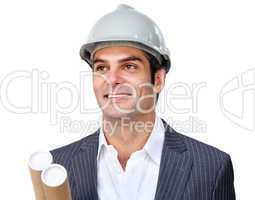 Charismatic male architect wearing a hardhat