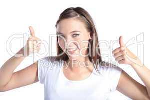 Junge Frau mit positiver Gestik