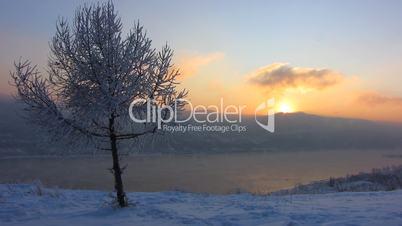 Sundown. Winter landscape.