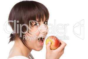 Junge Frau mit einem Apfel
