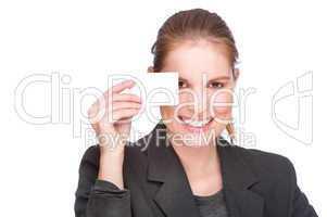 Geschäftsfrau mit Visitenkarte
