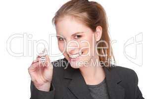 Geschäftsfrau mit zwei Würfel