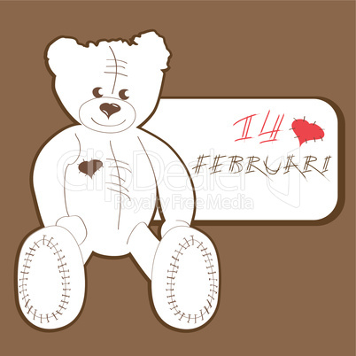 Valentine's card with bears vector.