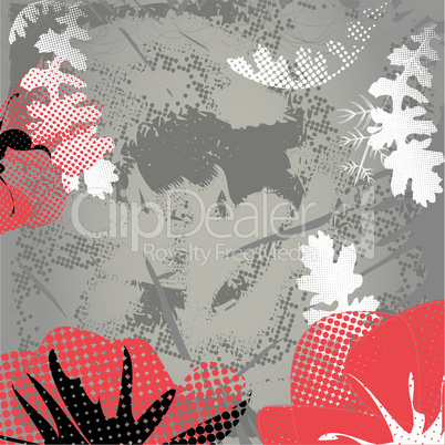 Background with red poppy
