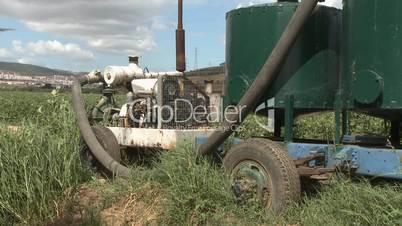 Engine pump for irrigation in farm