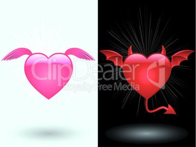 Angel and demon heart