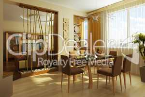 modern dinner room interior 3d rendering