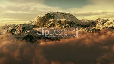(1143) Snow Mountain Winter Wilderness Clouds Climbing Peaks Sunset