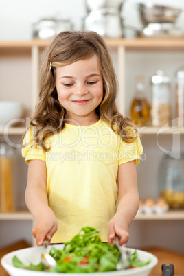girl preparing salad herself