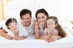 Smiling family having fun