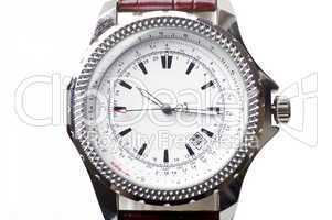 used silver watch isolated over white background