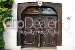 Old wooden door close-up