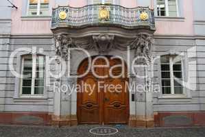 Massive door to medieval mansion, Freiburg, Germany