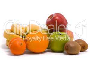 Colorful fruits on a white background
