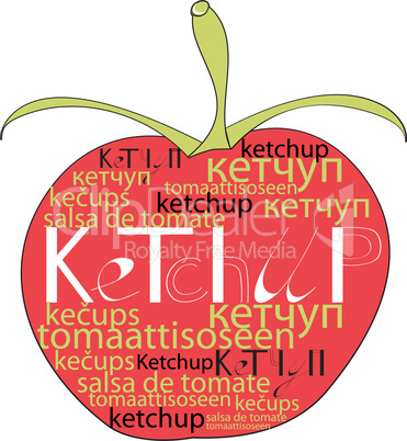 Red tomato with word ketchup