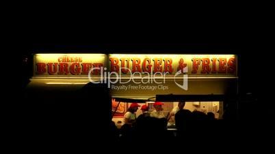 Burger van at a evening outdoor event