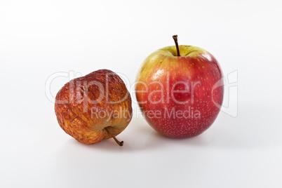 Äpfel in unterschiedlichen Stadien der Alterung