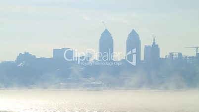 City landscape in cold and foggy morning.