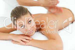 Assertive woman enjoying a massage